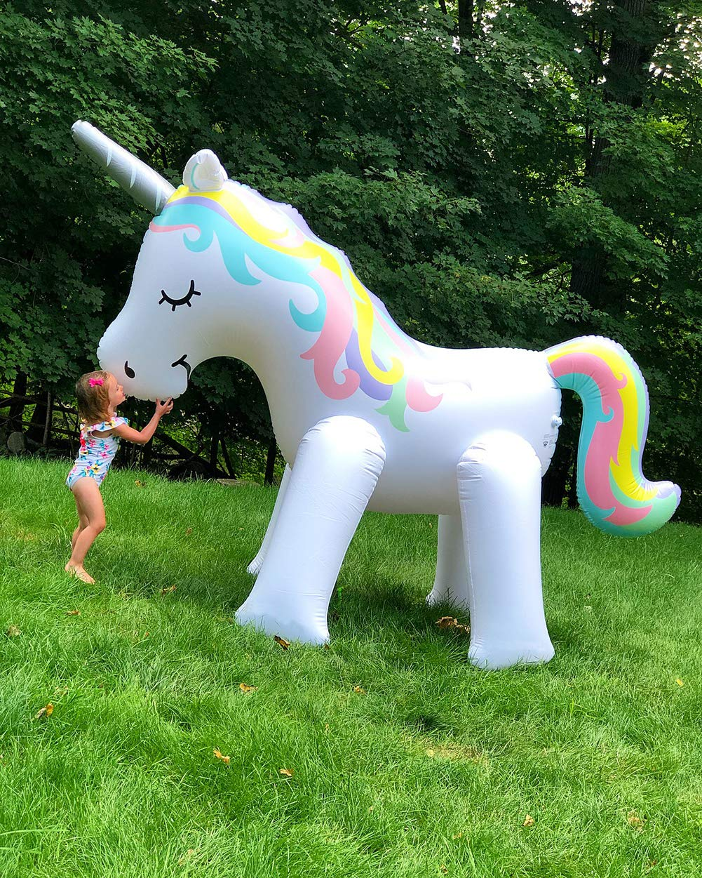 Kimi House Giant Inflatable Unicorn Sprinkler with Over 4.8 Feet Tall, 6.6Feet Long, Water Toys, Yard Summer Sprinkler… 6