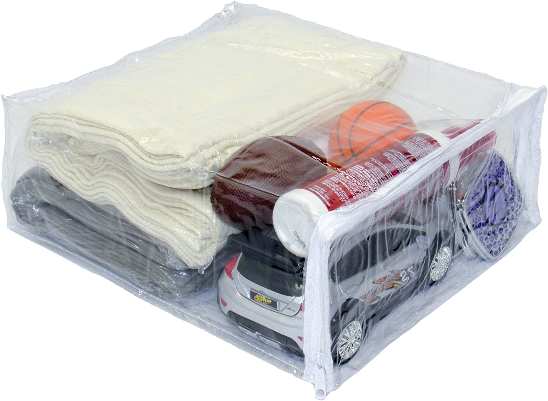 "Oreh Homewares Heavy Duty Vinyl Zippered (Clear) Storage Bags (9"" x 11"" x 4"") for Dresses, Shirts, Pants, Fabrics (1.7 Gallon) 10-Pack"