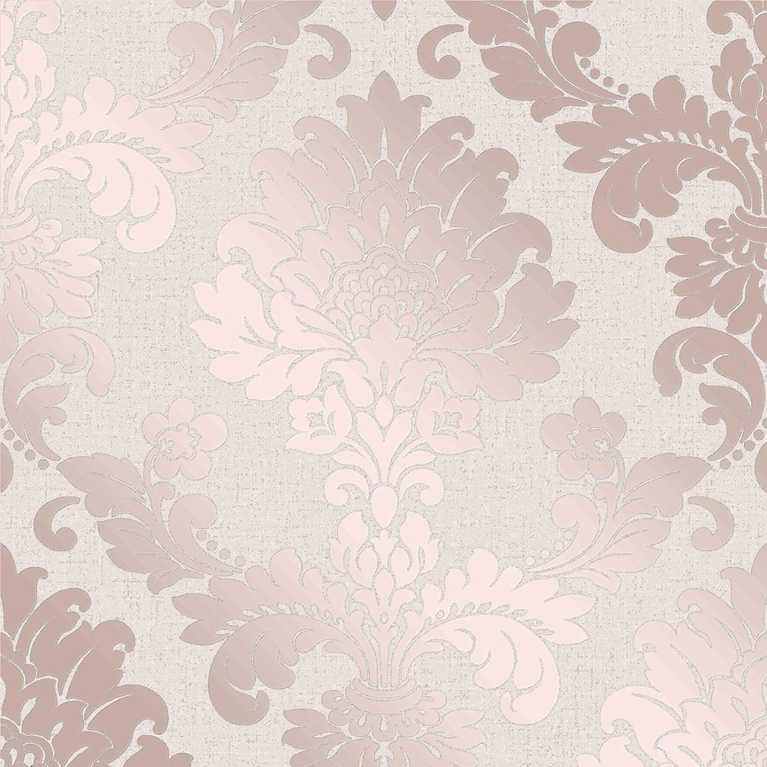 Quartz Damask Wallpaper Rose Gold Fine Decor Fd42204 Amazon Com