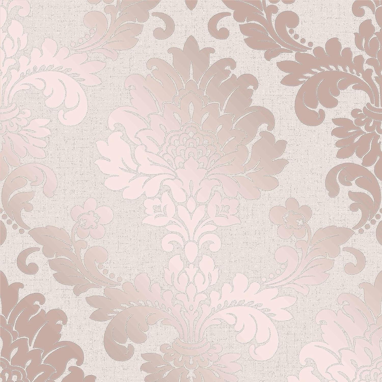Fine Dé cor FD42204 Damasco de cuarzo, oro rosa Fine Décor