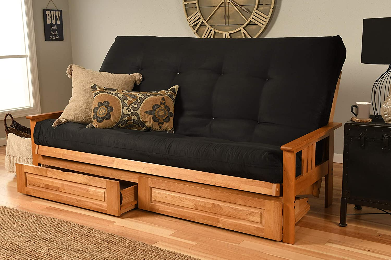 Kodiak Furniture Monterey Queen-size Futon, Storage Drawers, Butternut Finish with Suede Black Mattress