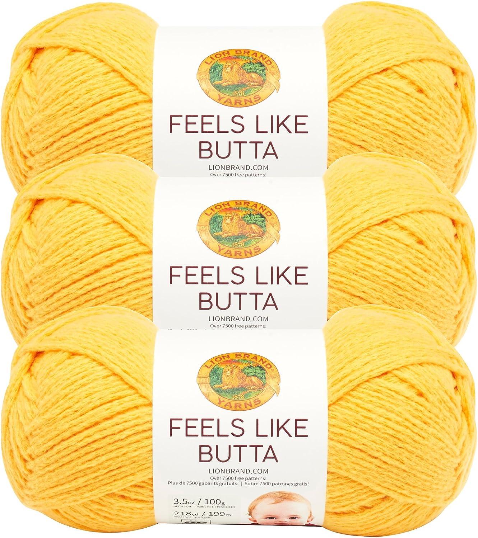 (3 Pack) Lion Brand Yarn 215-158 Feels Like Butta Yarn, Lemon