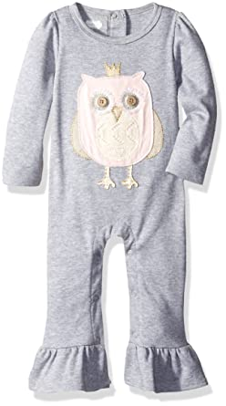 ef4cfe531ae Amazon.com  Mud Pie Baby Girls  Owl Ruffle Playwear One Piece