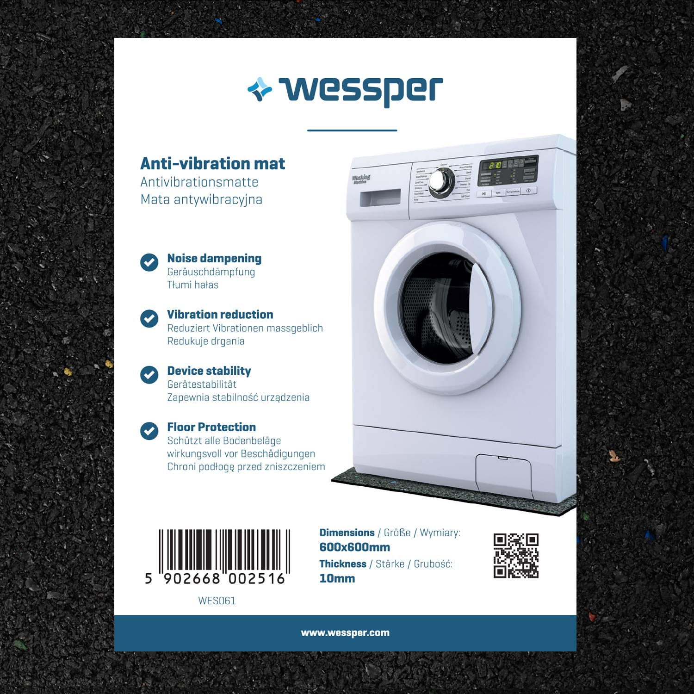Wessper Antivibrationsmatte f/ür Waschmaschinen Bosch WAE24364PL//40 60 x 60 x 1cm, Gummimatte