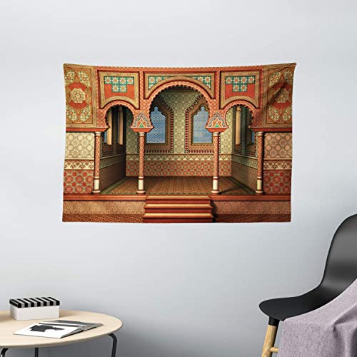 Ambesonne Orient Tapestry, Middle Eastern Oriental Style Interior Palace Architecture Vintage Art Design, Wide Wall Hanging for Bedroom Living Room Dorm, 60 X 40 , Golden Red