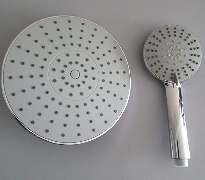 Chrome Finish Removable Flow Restrictor High Flow Rainfall and Handheld Anti-clog Easy Installation Showerhead for Bathroom with Adjustable Mental Swivel Ball SEIDO Dual High Pressure Shower Head