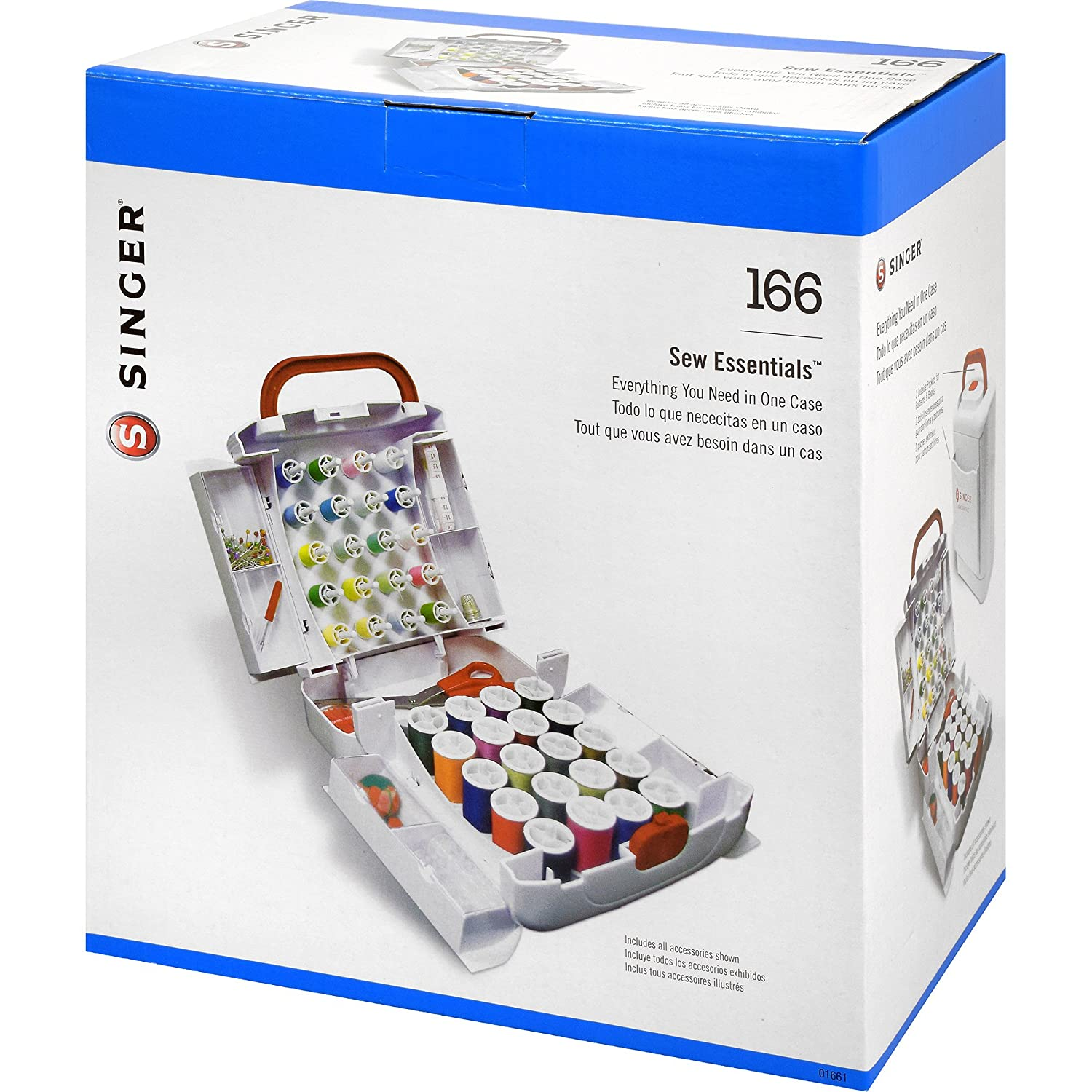 Singer 166-piece 10 x 8,5 x 15,2 cm Sew Essentials sistema de almacenamiento, color blanco: Amazon.es: Hogar