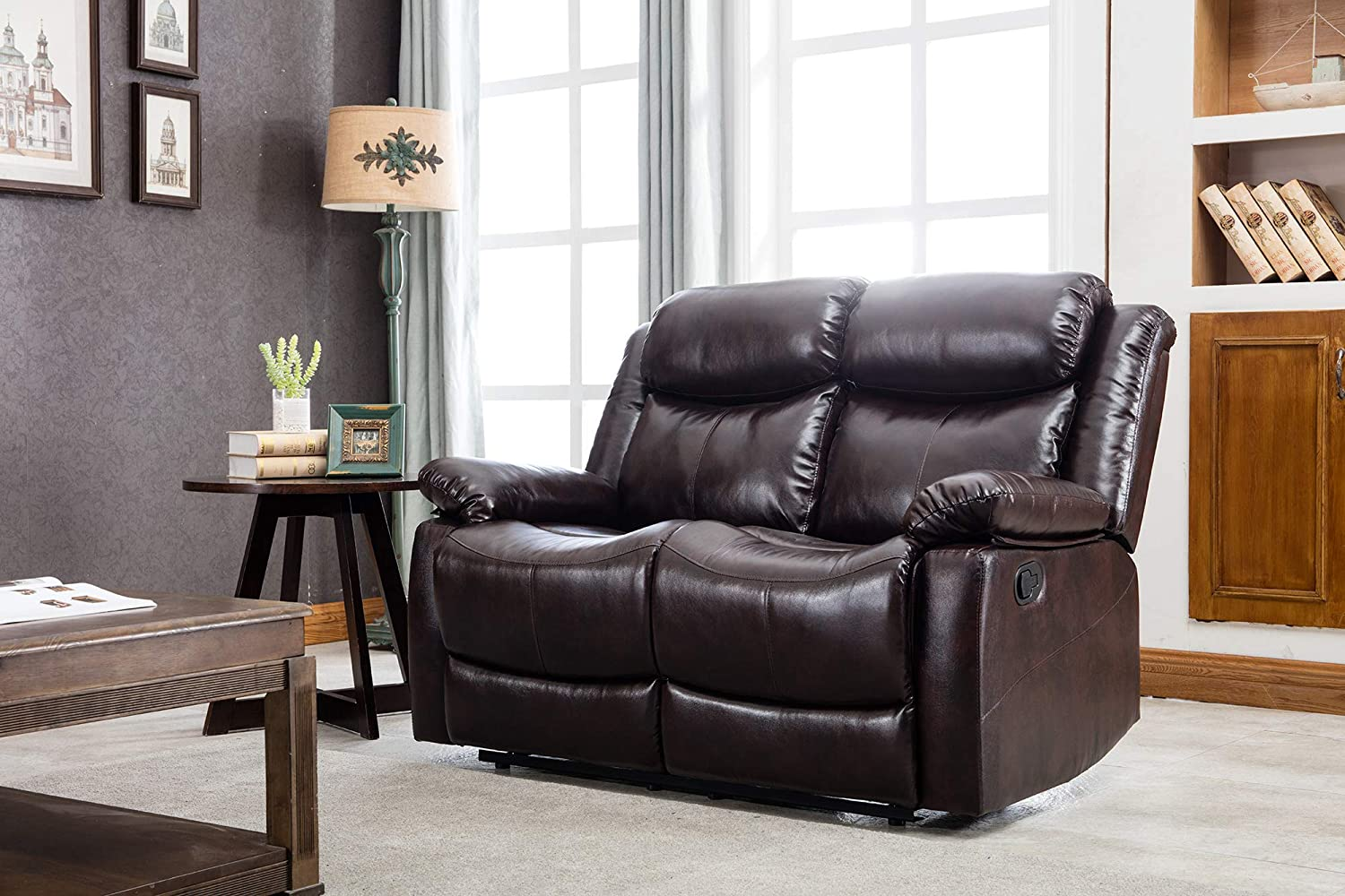 Harper Bright Designs Brown Leather Couch Loveseat Sofa Reclining Sofa Chair Classic Recliner Sofa Couches for Living Room 530lbs Capacity