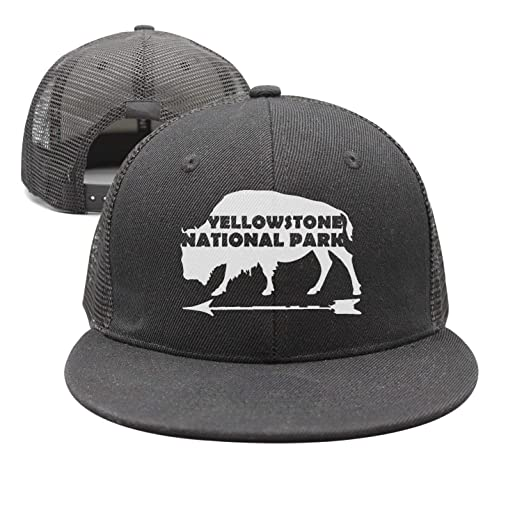 01056bce Image Unavailable. Image not available for. Color: Yellowstone National  Park Old Faithful Buffalo Washed Retro Adjustable Jeans Cap Trucker ...