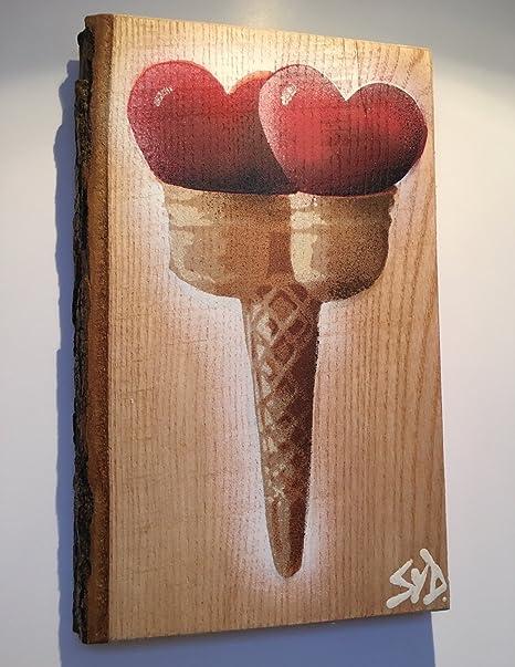 Dulce Corazones de doble cono de helado diseño arte pintura Handsprayed en ceniza firmada por Syd