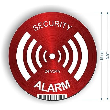 Decooo. be Pegatinas Alarm – dissuasif para los Ladrones – Ultra Resistente a los griffures, Lluvia, Gel, UV. – 19 mm x 49 mm – 2 mm de Espesor