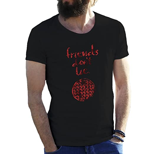Friends Dont Lie by Stranger Things Black Mens T-Shirt in Extra Large