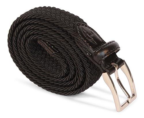 APPAREL NORTH – PREMIUM LINE – Cintura intrecciata elastica – stretch, Donna, Colori multipli e dimensioni, Dettagli di vera pelle
