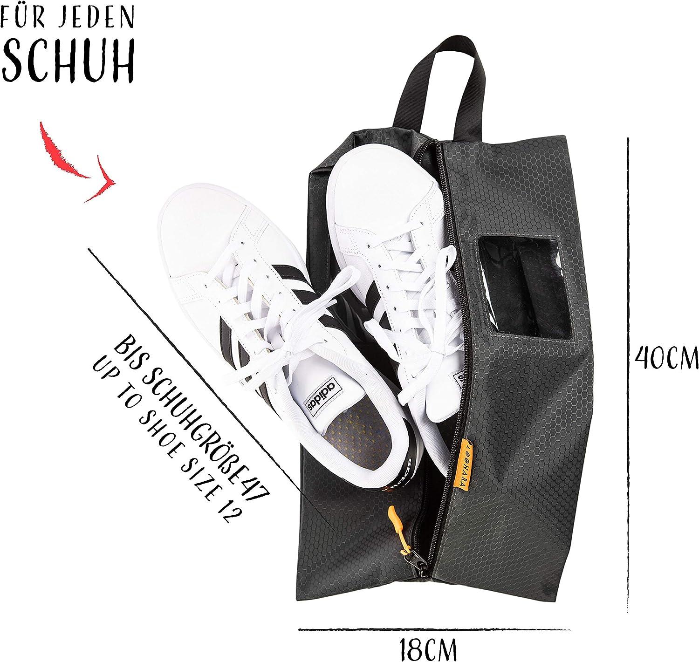 wasserdicht Schuhtaschen 2er Set f/ür Koffer und Rucksack Fenster l travel Shoe Bag l Schuhbeutel f/ür Aufbewahrung im Backpack oder Koffer l Schuhsack f/ür Schuhe bis Schuhgr/ö/ße 47 inkl