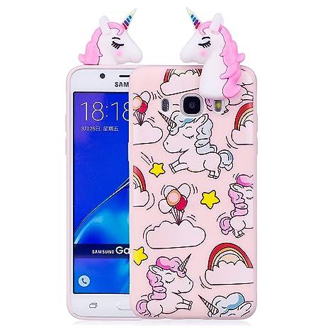 Funda Samsung Galaxy J5 2016 3D Unicornio Soft Carcasa Kawaii 3D Diy Case Carcasa Goma Flexible Ultrafina TPU Bumper Shock Funda de Silicona Unicornio ...