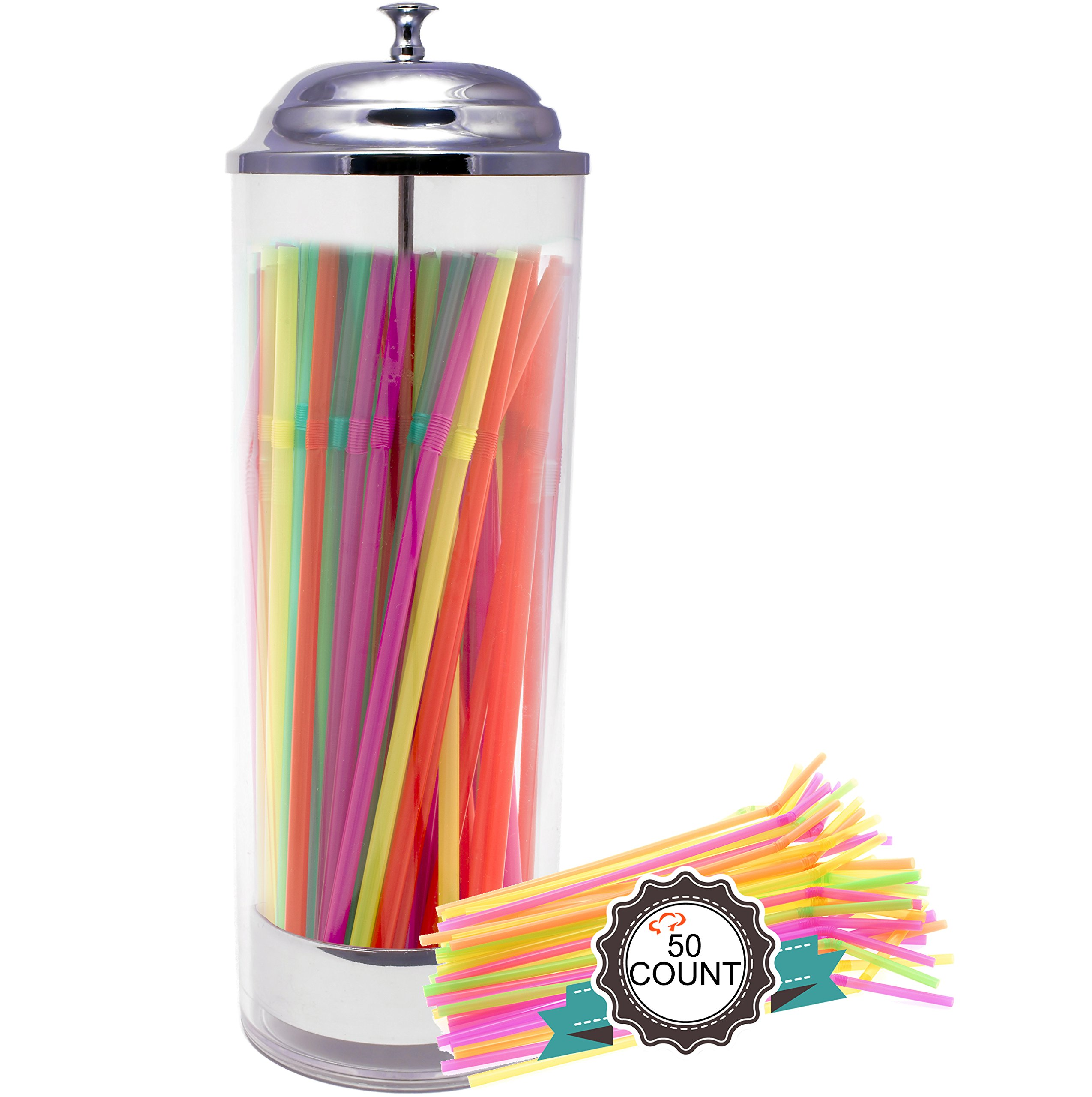 Tiger Chef Plastic Cylinder Straw Holder with 50 Neon Straws, 3.5 x 10.6-Inch, Clear Plastic Pull-up Dispenser with Stainless Steel Lid and Tray by Tiger Chef