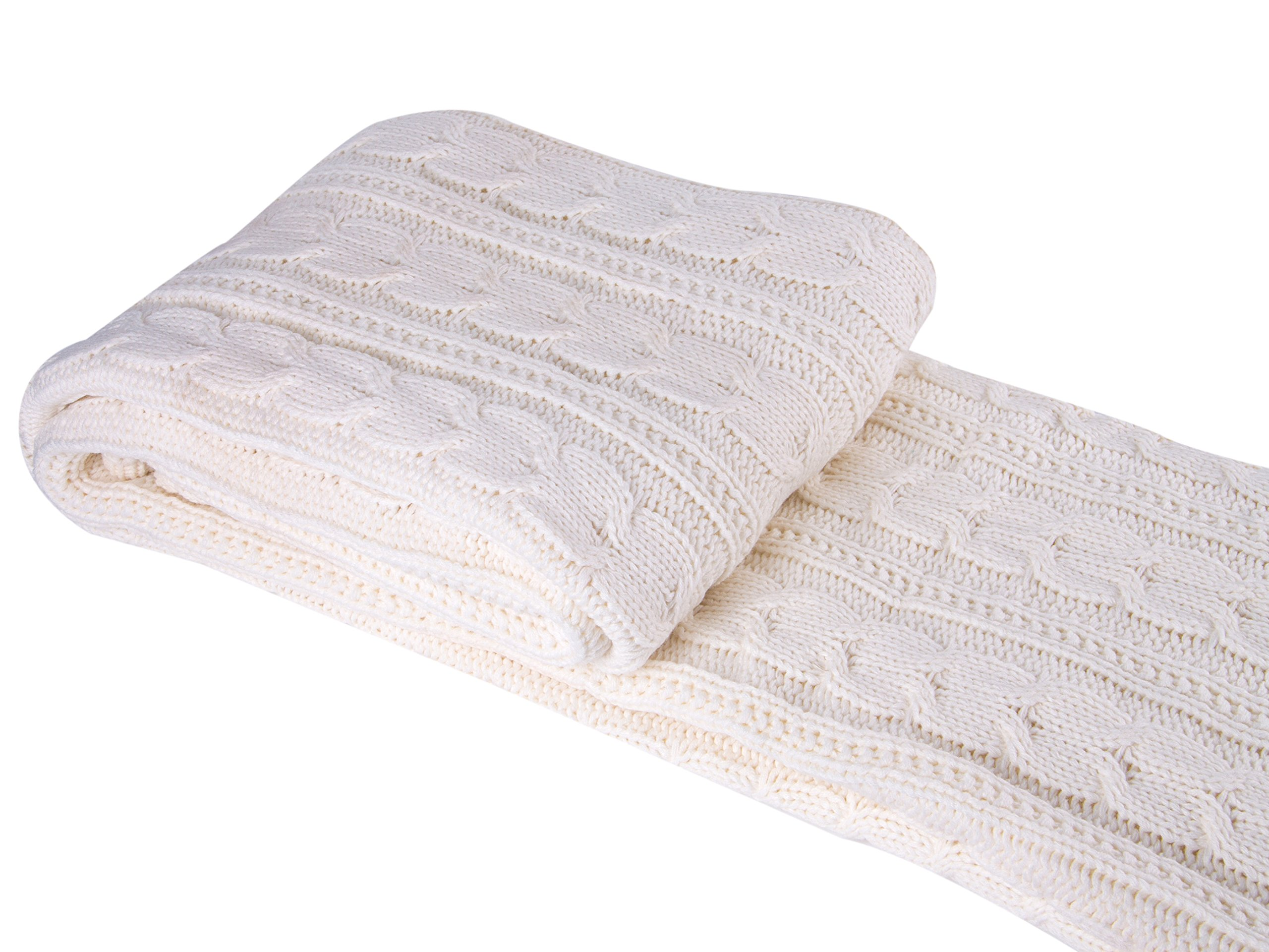 Comforbed Classic All Season Soft Cable Sweater Knitting Throw Blanket Quilted Throws with Sherpa Lining for Bed Sofa Couch Decor Cream 51x63 Inch by Comforbed