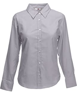 Fruit Of The Loom Lady-Fit Manica Lunga Camicia Oxford 5-colore XS-3XL