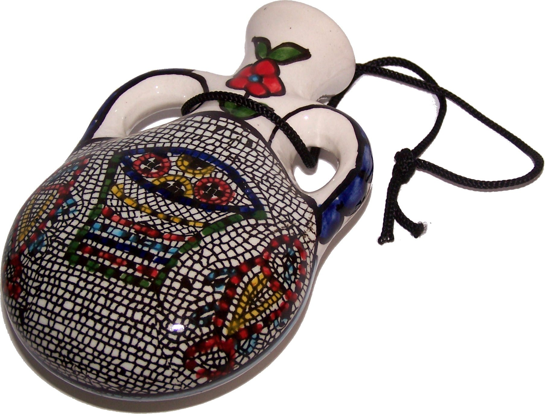Oil Bottle / Pilgrim's Flask -Tabgha - Miracle of Loaves and Fish Armenian ceramic (5.5 inches or 14cm) - Asfour Outlet Trademark