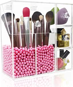 Makeup Brush Holder,Lumcrissy Acrylic Makeup Organizer with 2 Brush Holders and 3 Drawers Dustproof Box with Free Pink Pearl (Pink)