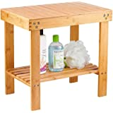 Bamboo Spa Bench Wood Seat Stool Foot Rest Shaving Stool with Non-Slip Feets Storage Shelf for Shampoo Towel,Works in Bathroo