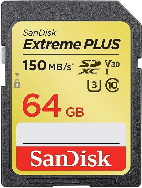 SanDisk Extreme Plus - Tarjeta de Memoria SDXC de 64 GB, hasta 150 MB/s, Class 10, U3, V30