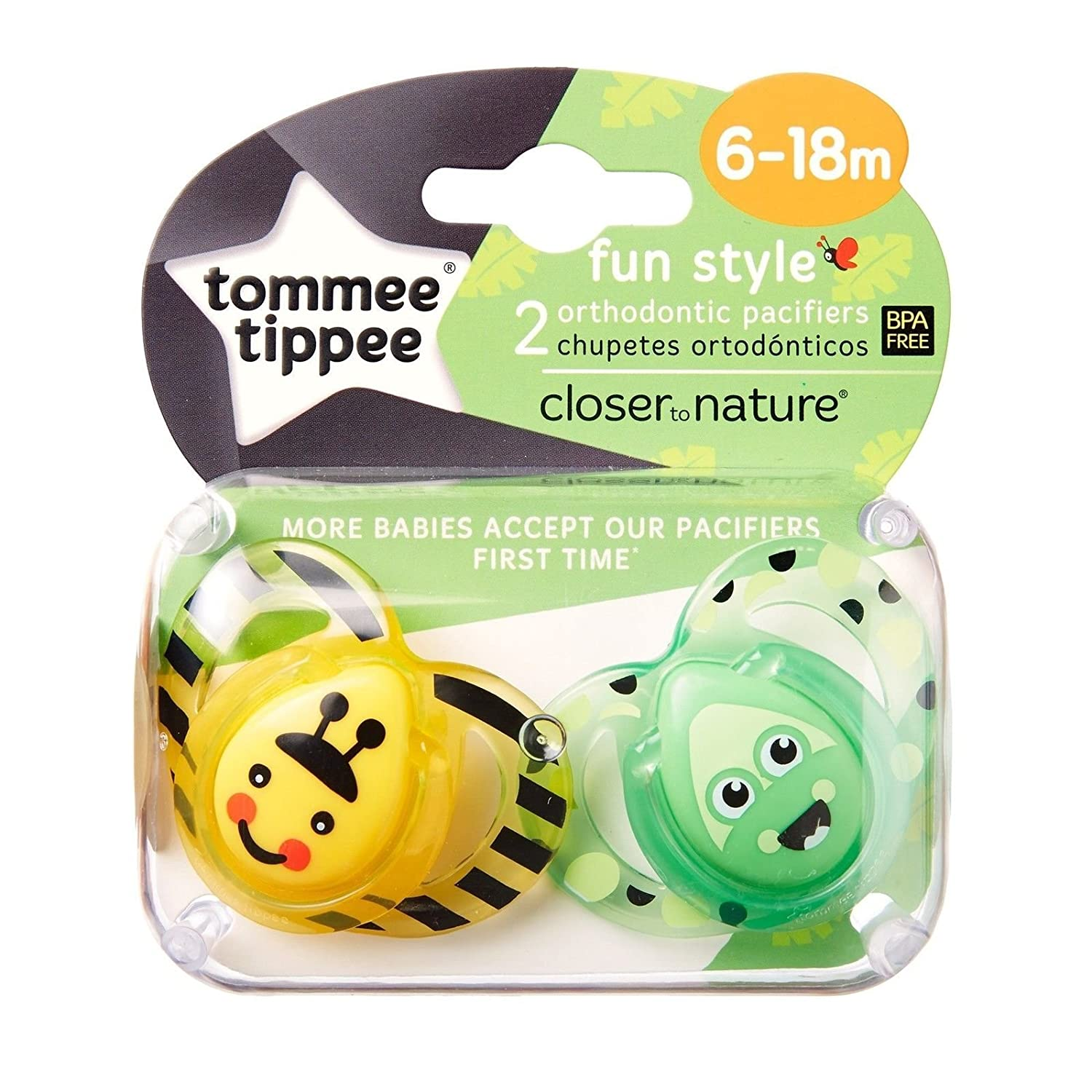Tommee Tippee Closer to Nature Fun Pacifier, 6-18 Months, 2 Count (Colors May Vary)