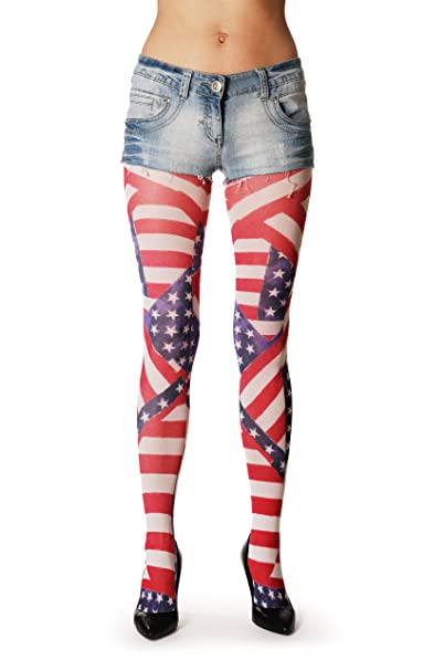 American Flag Multicolored Opaque Printed Pantyhose Tights At