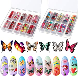 20 Rolls Butterfly Nail Foil Transfer Sticker Red Lip Rose Nail Art Sticker Flower Summer Nail Art Sticker with Flower Flamingo Heart Pattern for DIY Nail Decoration Salon Home Supplies