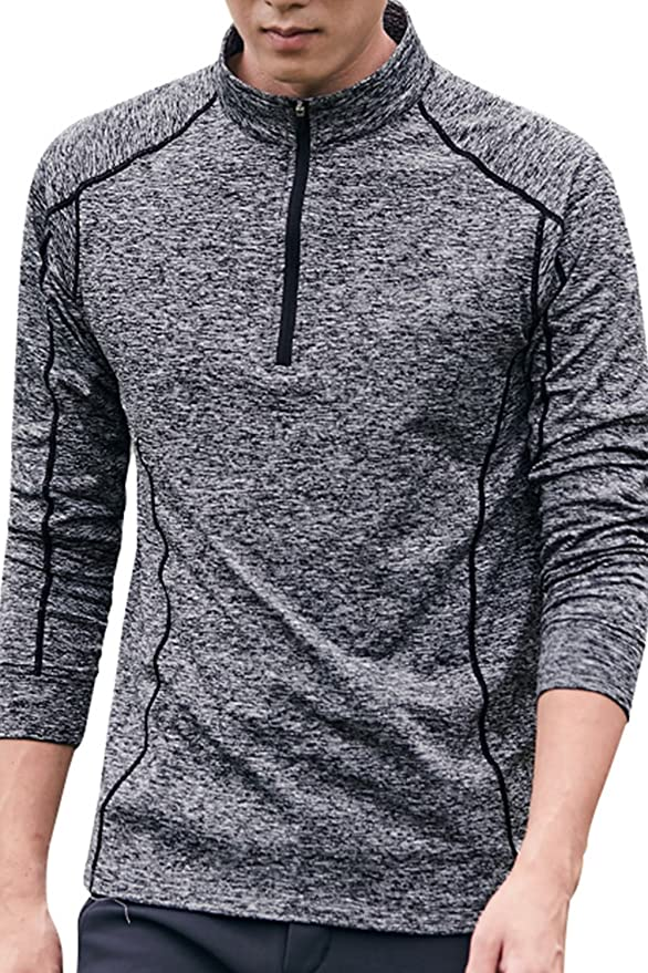 CC Perfect Slim Fit Quarter Zip Pullover Men Mens Moisture Wicking Long Sleeve 1//4 Zip Up Quick Dry Fit Tech Performance