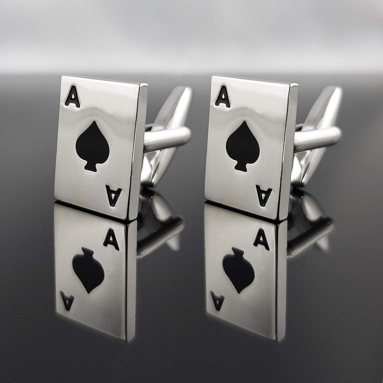 MIND CARE ESSENTILAS SILBER Herren Manschettenkn/öpfe Poker vier Asse Pokerkarte Blackjack Kartenspiel Card Karten Spielkarte