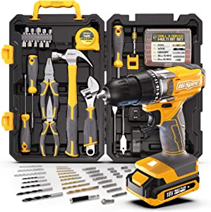 Hi-Spec 80 Piece Home Tool Kit Set & 18V Drill Driver. Full Set of Complete Repair & Maintenance DIY Hand Tools for the Household, Office, Workshop. All in a Storage Case