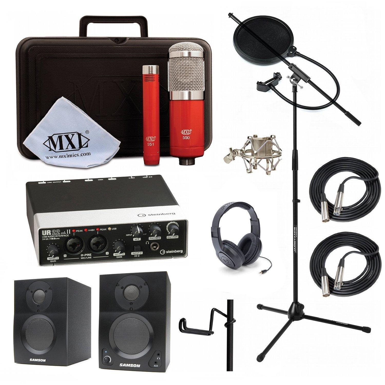 Home Recording Studio Bundle MXL 550/551R SR350 Stand Steinberg UR22MKII Samson Media ONE BT3 Speakers by MXL, Steinberg, Samson