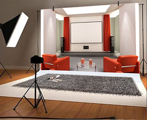 15x10ft Home Theatre Photo Backdrop Red Drapes Sound Audio Red Sofa Empty Living Room Ciname Film Screen Photography Background Kids Adults Family Portrait Photo Studio Props