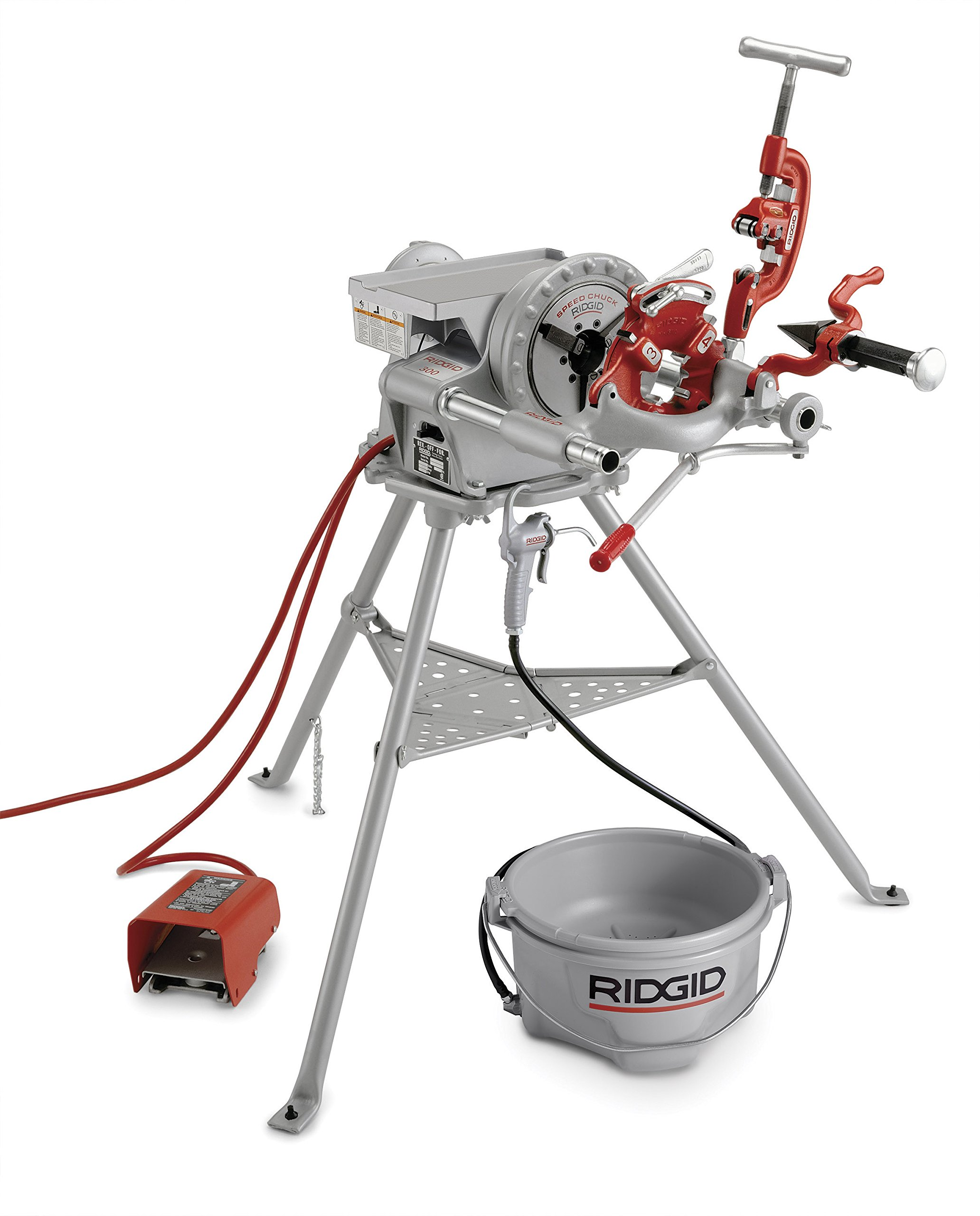 RIDGID 15722 Model 300 Power Drive Complete, 57 RPM Pipe Threading Machine and 1/2-Inch to 3/4-Inch, 1-Inch to 2-Inch Universal Alloy Threading Die Heads, Oiler Included