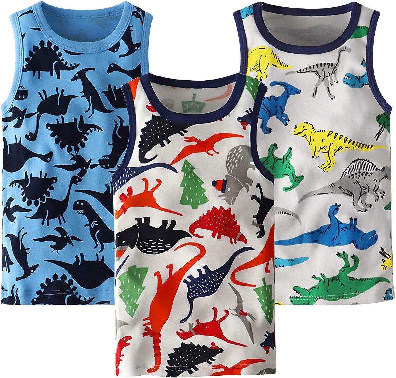 12 mesi-13 anni Coralup 3 pezzi colorate 100/% cotone Set di 3 canottiere per bambini e bambine comode traspiranti con dinosauro e squalo