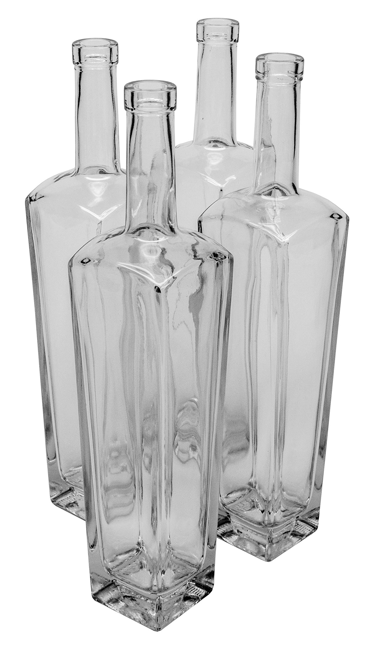 North Mountain Supply 750ml New Yorker Clear Glass Wine/Spirits Bottle Bar Top Finish - Case of 4