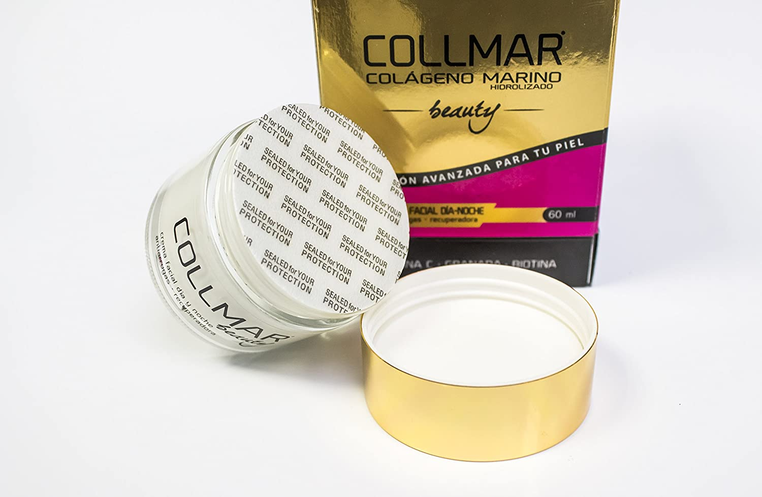Amazon.com: COLLMAR Beauty Cream with Hydrolysed Marine Collagen, Hyaluronic Acid, Vitamin C, Biotin, Evening Primrose oil, Borage oil and Pomegranate 60 ml ...