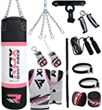 RDX Sac de Frappe Femme Rempli Lourd Punching Ball MMA Muay Thai Kickboxing Arts Martiaux Boxe Gants Chaine Suspension support Plafond Punching Bag
