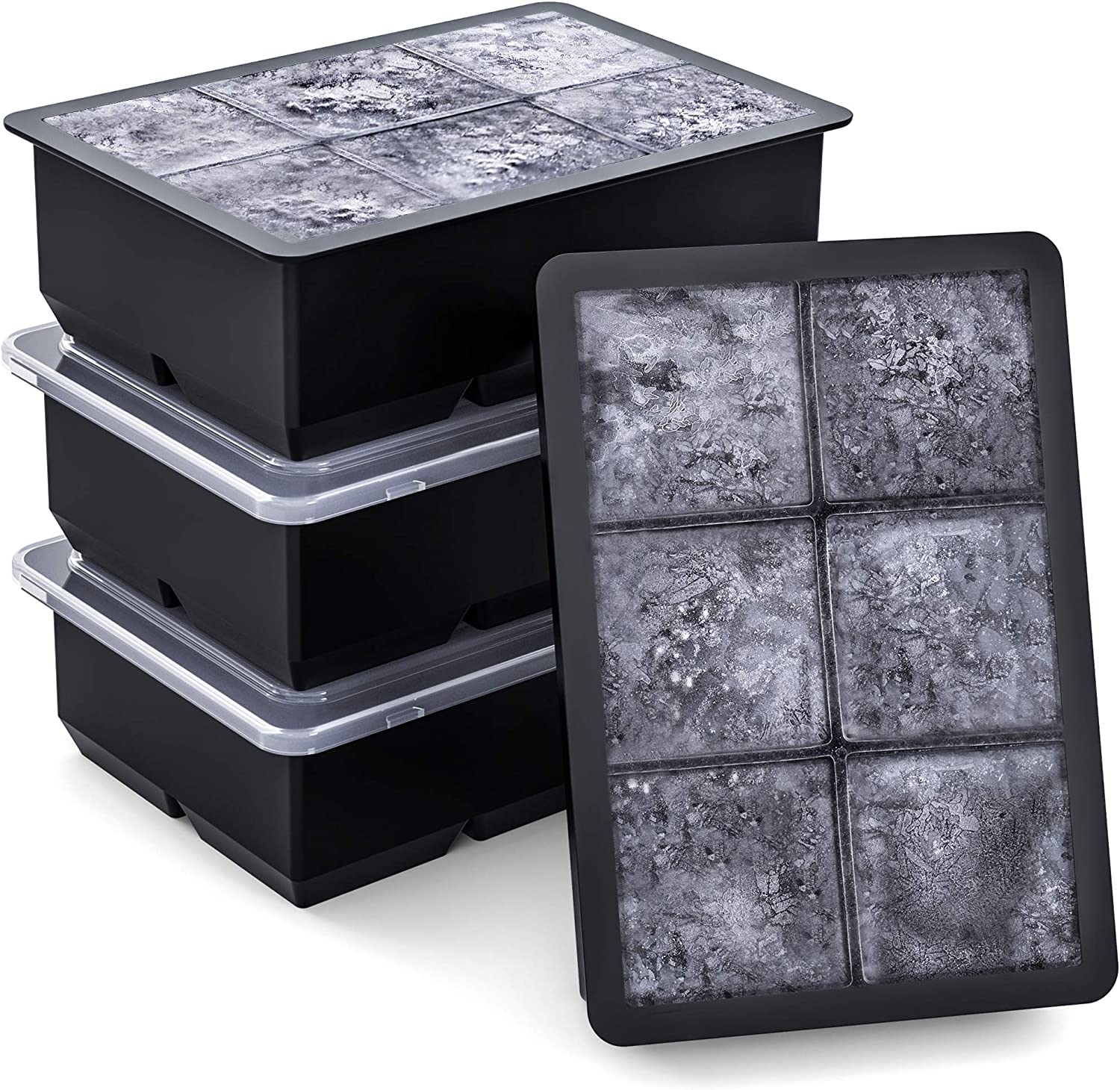 Syntus Ice Cube Trays Set of 4, Food Grade Silicone Ice Maker 6 Cavity Large Square Reusable Ice Cube Molds with removable lids for Chilling Whiskey Wine Cocktail Beverages Juice