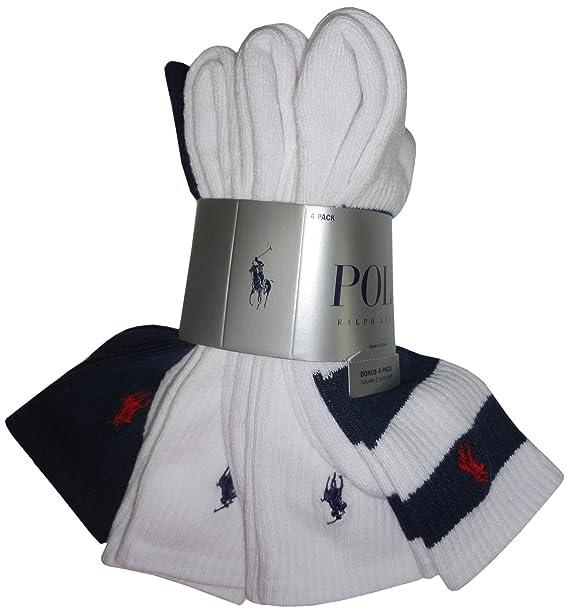 Polo Ralph Lauren para hombre calcetines blanco Multi y azul marino (Pack de 4)