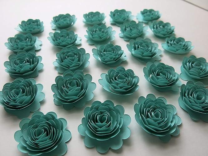 Amazon set of 24 caribbean blue carnations 15 aquamarine set of 24 caribbean blue carnations 15quot aquamarine paper flowers 3d table runner mightylinksfo