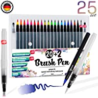 Brush Pen Set Pinselstifte - [ 20+2+3 ] für bildschöne Aquarell/Watercolor Effekte, Bullet Journal Zubehör und Hand-Lettering/Kalligraphie Zeichnungen - Stifte mit flexibler Echtpinsel-Spitze