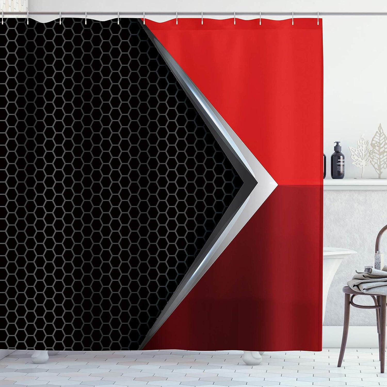 AMBZEK Black and Red Shower Curtains Modern Grey Stripes Abstract GeometricPattern Artwork Cloth Fabric Bathroom Decor 60