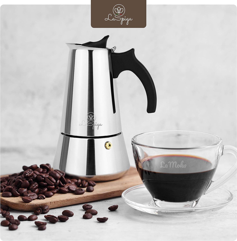 6 Tassen 300 ml geeignet f/ür Induktion Ceran Gas Elektro Premium Espressokocher von LaSpiga Mokkakanne Espressokanne Coffee Maker aus hochwertigem 430 Edelstahl