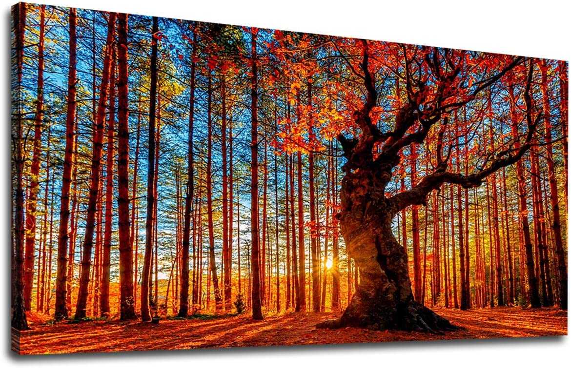 Large Canvas Wall Art Forest Sunset Red Tree Leaves Fall Landscape Canvas Artwork Contemporary Nature Picture for Home Office Wall Decor 24