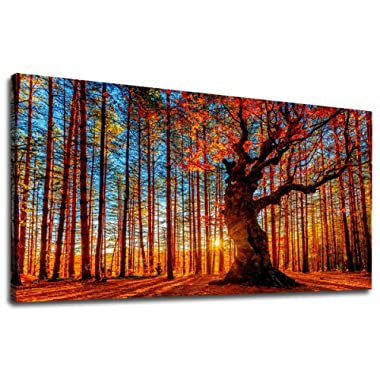 yearainn Canvas Wall Art Red Trees Forest Sunset Panoramic Fall Scenery Painting - Long Canvas Artwork Contemporary Nature Picture for Home Office Wall Decor 20  x 40
