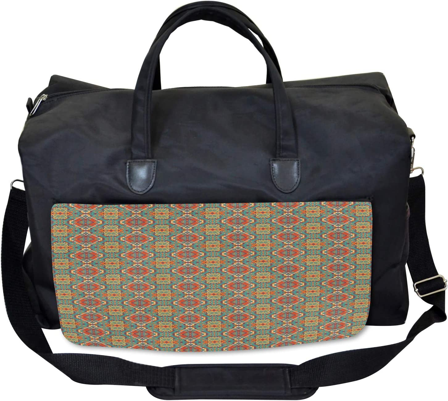 Ethnic Indigenous Large Weekender Carry-on Ambesonne Turquoise Gym Bag