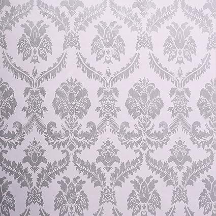 amazon com sicohome wallpaper 11 yard damask silver peel and stick
