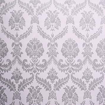 WaaHome Tapete Selbstklebend Damast Grau Tapeten Wandtapete Für Zu Hause  Schlafzimmer Wand Dekoration 32.8ft X